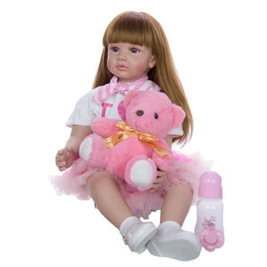 "24"" Exquisite Princess Toddler Girl with Bear Toy"