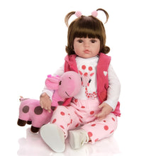 "18"" FULL VINYL BODY Baby Girl Doll with Giraffe Toy"