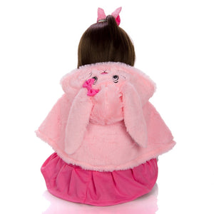 "18"" Soft Cloth Body Fashion Baby Doll Girl with Rabbit Toy"