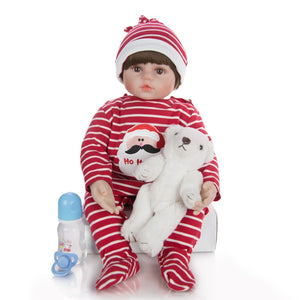 "24"" Soft Cotton Body Vinyl Boy Doll with Bear Toy"
