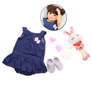 "22"" Full Vinyl Body Newborn Girl Toddler with Rabbit Toy"