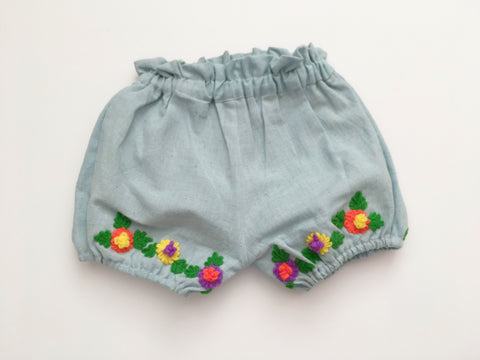 Embroidered Floral Bloomer Baby Blue