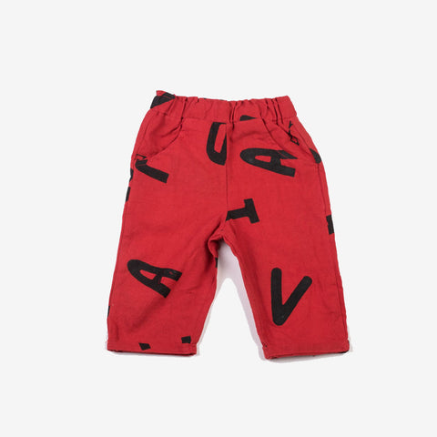 Alphabet Relaxed Pants Superhero Red