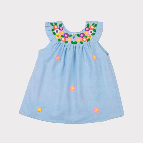 Multi-Colored Embroidered Daisy Neck Dress Baby Blue