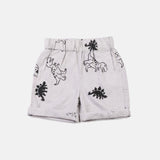 Imperfect Block Printed Dinosaur Rolled Hem Shorts Grey