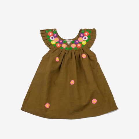 Multi-Colored Embroidered Daisy Neck Dress Mustard