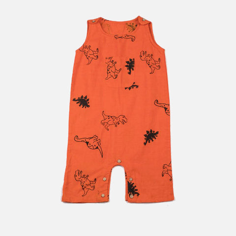 Dinosaur Romper Spicy Orange