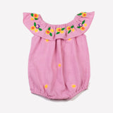 Embroidered Daisy Flutter Neck Bubble Bodysuit Baby Pink Daisy