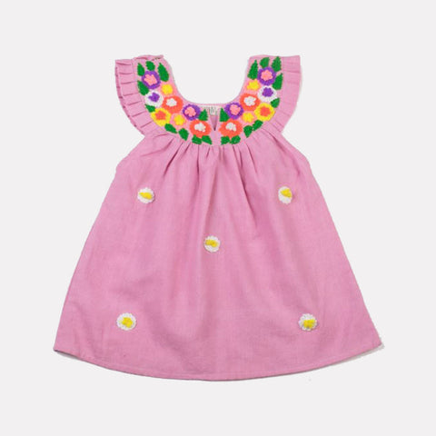 Multi-Colored Embroidered Daisy Neck Dress Pink