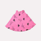 Block Printed Dinosaur Dress Happy Pink