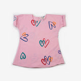 Block Printed Rainbow Hearts Tunic in Cotton Candy
