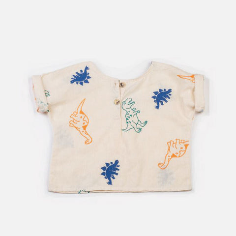 Block Printed Dino Henley Shirt Cream