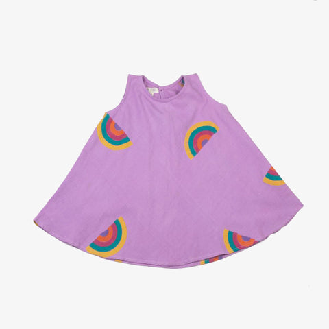 Block Printed Rainbow Dress in Lavender