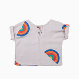 Block Printed Rainbow Henley Shirt Rainy Grey