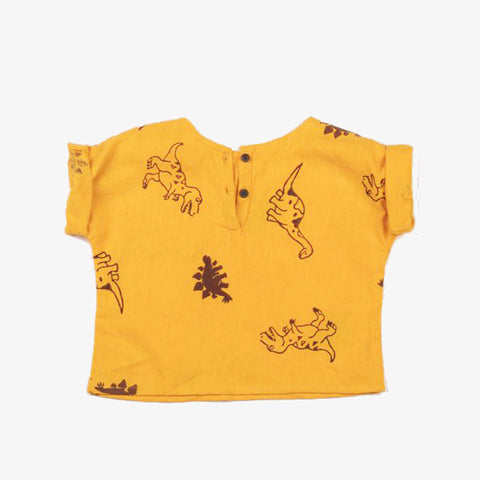 Block Printed Dino Henley Shirt Summer Sun