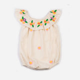 Embroidered Daisy Flutter Neck Bubble Bodysuit Natural