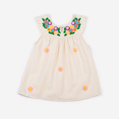 Multi-Colored Embroidered Daisy Neck Dress Off White