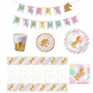 Unicorn Theme Party Decorations (Plates, Cups, Party Hats, Buntings, Banners, Table Cloths  etc.) - Shop Save & Bake
