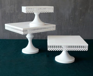 White Square Cake Stands (available in 3 sizes) - Shop Save & Bake