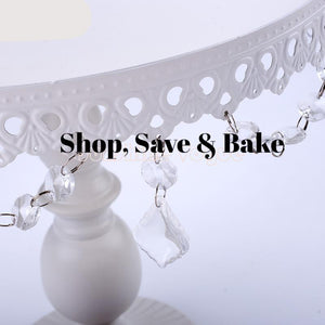 Elegant White Cake Stand with Crystal Pendants (3 sizes available) - Shop Save & Bake