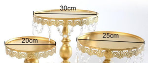 Classic Golden Cake Stands with Crystals - Shop Save & Bake