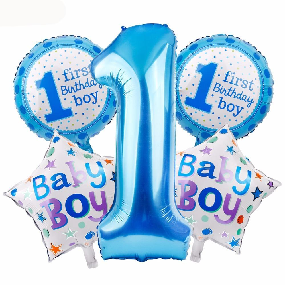 5 pcs. Baby's 1st Birthday Party Balloons (Baby Girl/Baby Boy variants) - Shop Save & Bake
