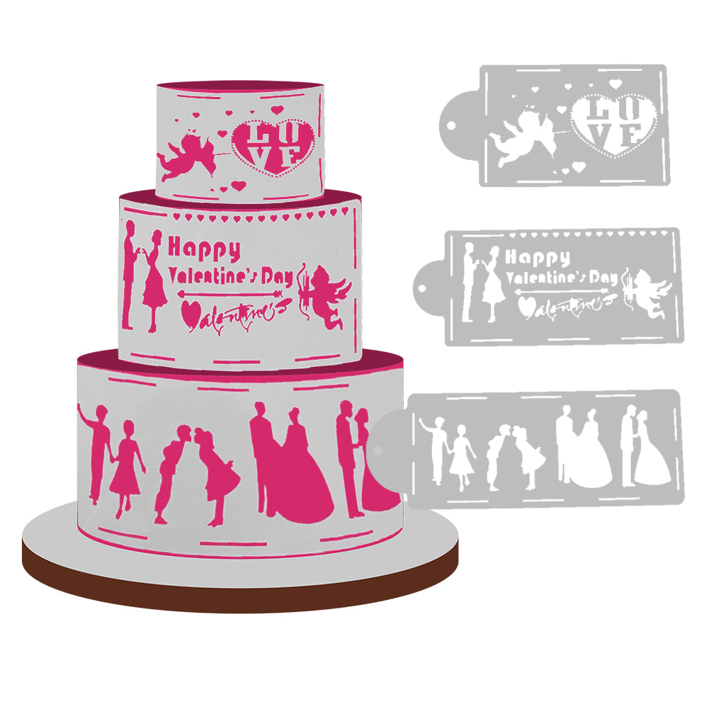4pcs./set Love Story Cake Stencils - Shop Save & Bake