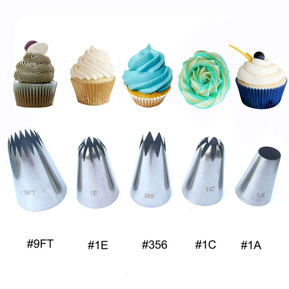 5 pcs. / set The Ultimate Favorite Large Icing Tips (#9FT, 1E, 356, 1C and 1A) - Shop Save & Bake