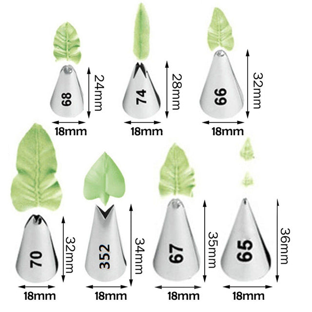 Leaf Icing Tips (7 variants and set available) - Shop Save & Bake