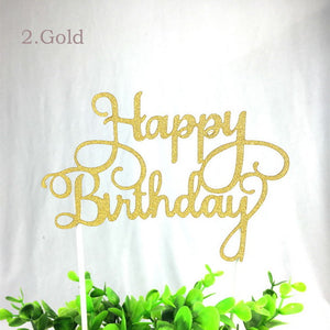 Happy Birthday Cake Toppers (Blue, Gold, Silver, Fuchsia) - Shop Save & Bake