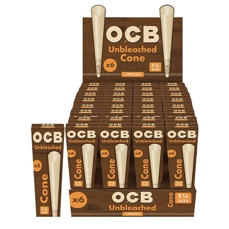 OCB Virgin Unbleached Cone 1-1/4 one quarter inch sized Rolling cones for instant joint rolling near me online vape shop