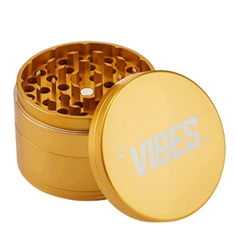 Vibes 4 piece golden color grinder near me in low price best online shop for tobacco products sharp alumunium grinder