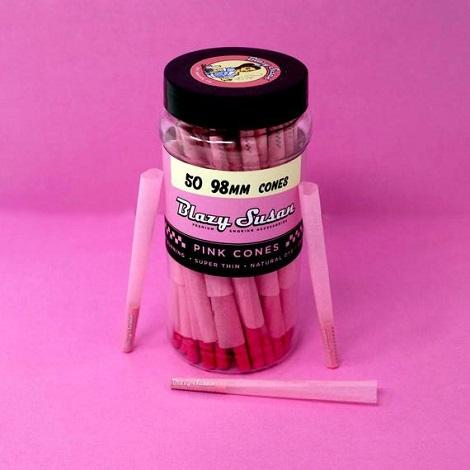 Blazy Susan 98mm Size Pink Color Cones Box near me online tobacco shop GMO free ready to roll 50 Cones in best prices