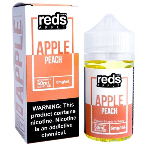 Reds Apple Ejuice Peach flavor 6mg nicotine content for perfect throat hit for beginners near me online vape shop