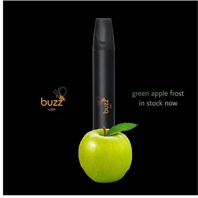 Buzz USA Disposable Vape E-cigarette Filled ejuice Vape Flavored vape Device Buzz Vape Ready to Draw Green Aple Frost Flavor
