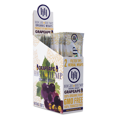 Grapeape High Hemp rolling paper flavor box 25 packet flavored rolling paper with tips near me