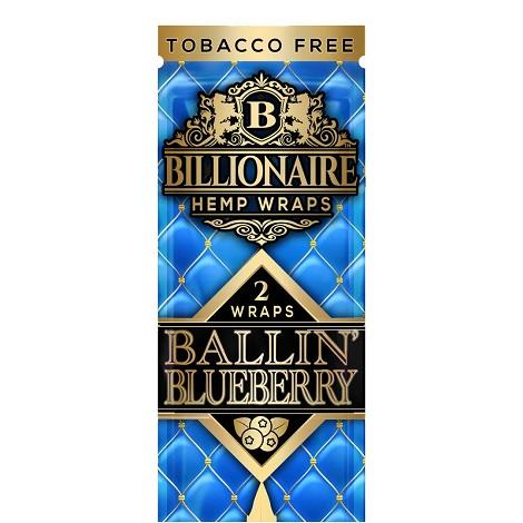 Ballin Blueberry Billionaire Hemp Wraps 2 leaf per pouch GMO free natural hemp plant based wraps near me online shop