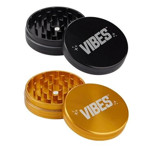 Vibes both  black and golden color 2 piece grinder easy tobacco crushing grinders near me onliine tobacco shop best shop