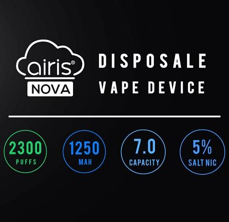 Airis Nova 2300 plus puffs 1250mah battery 7ml eliquid capacity 5% nicotine salt content available in best price