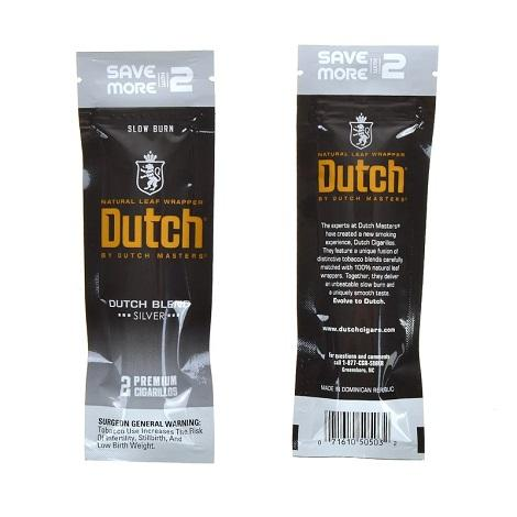 Dutch Blend Silver Slow Burn Natural Leaf Cigars Near me online tobacco shop 2 Cigarillos per Foil Pouch Fresh Cigars