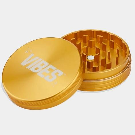 Vibes 2 Piece Gold Grinder new vibes x aerospaced Sharp tobacco grinder near me best online prices with best reviews