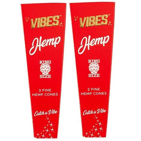 Vibes Hemp 1 1/4 Size 6 Cones Per Pack New Organic Hemp Based Slow Burn Pre Rolled Cones Near me online tobacco shop