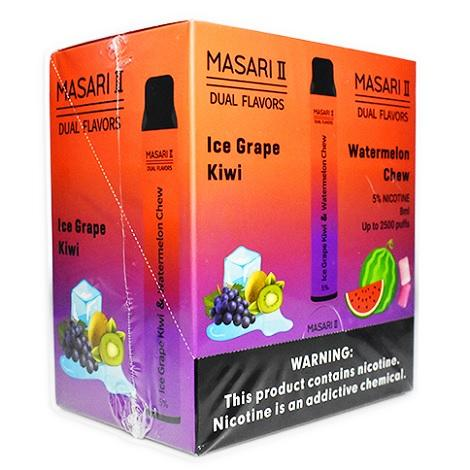 Masari 2 dual flavor disposable vape device Watermelon Chew/Ice Grape Kiwi flavor new double long lasting vape device