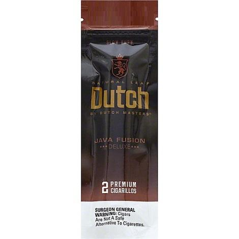 Dutch Java Fusion Flavored Natural Leaf Cigar Foil Pouch with 2 Cigarillos per packet near me online tobacco shop