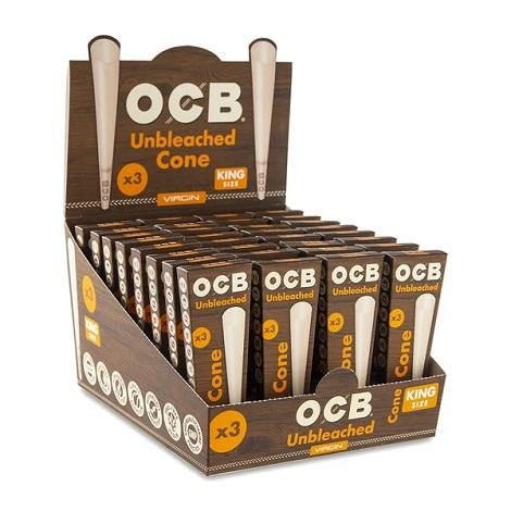 OCB Virgin Unbleached Cones King Size Rolling Paper pack of 3 Rolled Cones for easy filling near me online shop