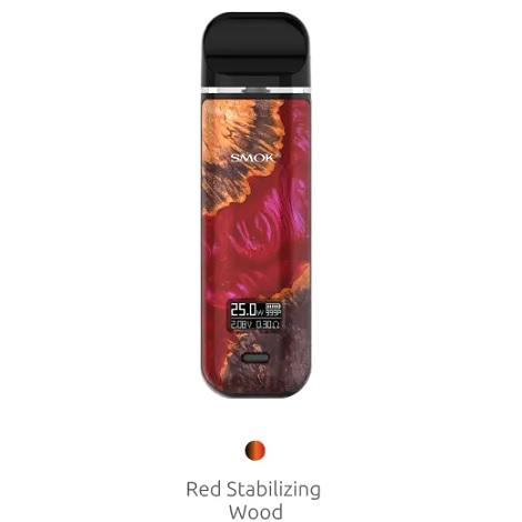 Red Stabilizing Wood Smok Novo X Vape Pod System Digital Display vape kit near me online vape shop