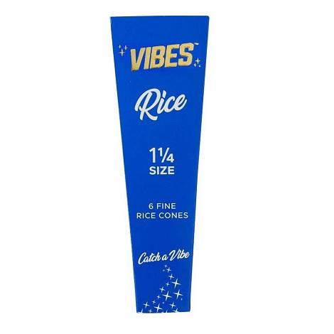 Vibes Rice Cones 1.25 Size 1 1/4 length pre rolled cones near me online tobacco shop best prices 6 Per Pack