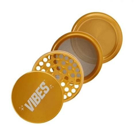 Vibes X Aerospaced 4 piece Gold Grinder Easy Tobacco Grinder for rolling and mixing herbs in best prices online available