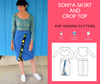 Sonya Skirt and Crop Top PDF Sewing Pattern - DGpatterns