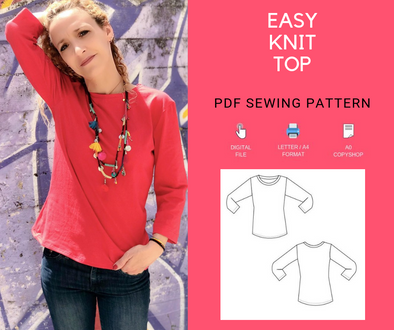 Easy Knit Shirt Printable PDF pattern - DGpatterns